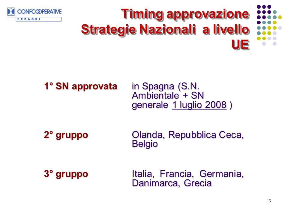 13 Timing approvazione Strategie Nazionali a livello UE 1° SN approvatain Spagna (S.N.