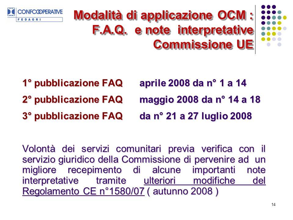 14 Modalità di applicazione OCM : F.A.Q.