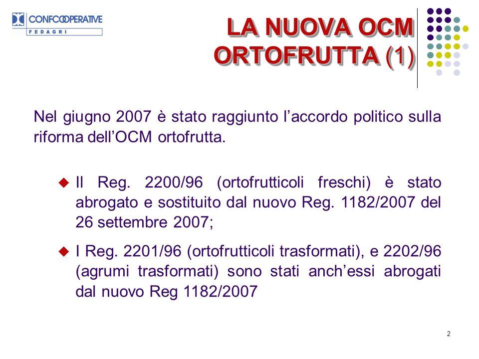 2 Nel giugno 2007 è stato raggiunto laccordo politico sulla riforma dellOCM ortofrutta.