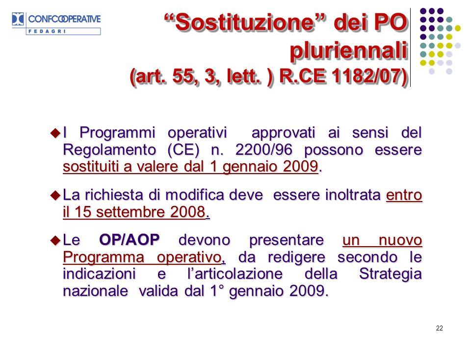 22 Sostituzione dei PO pluriennali (art. 55, 3, lett.