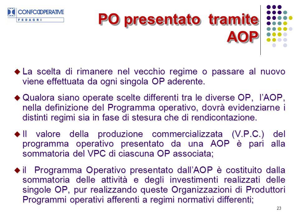 23 PO presentato tramite AOP La scelta di rimanere nel vecchio regime o passare al nuovo viene effettuata da ogni singola OP aderente.