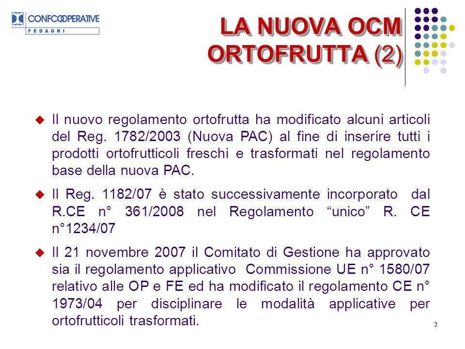 3 LA NUOVA OCM ORTOFRUTTA (2) Il nuovo regolamento ortofrutta ha modificato alcuni articoli del Reg.