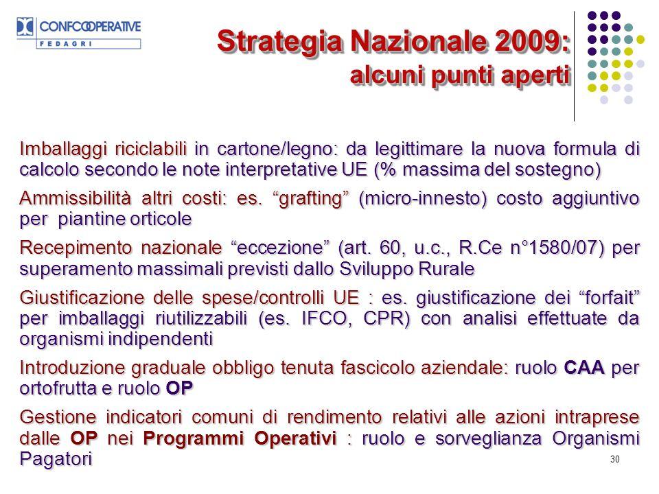 30 Strategia Nazionale 2009: alcuni punti aperti Imballaggi riciclabili in cartone/legno: da legittimare la nuova formula di calcolo secondo le note interpretative UE (% massima del sostegno) Ammissibilità altri costi: es.