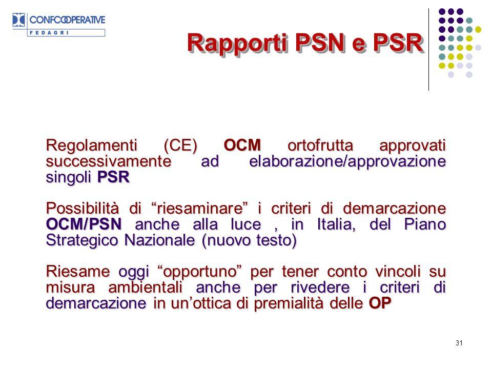 31 Rapporti PSN e PSR Regolamenti (CE) OCM ortofrutta approvati successivamente ad elaborazione/approvazione singoli PSR Possibilità di riesaminare i criteri di demarcazione OCM/PSN anche alla luce, in Italia, del Piano Strategico Nazionale (nuovo testo) Riesame oggi opportuno per tener conto vincoli su misura ambientali anche per rivedere i criteri di demarcazione in unottica di premialità delle OP