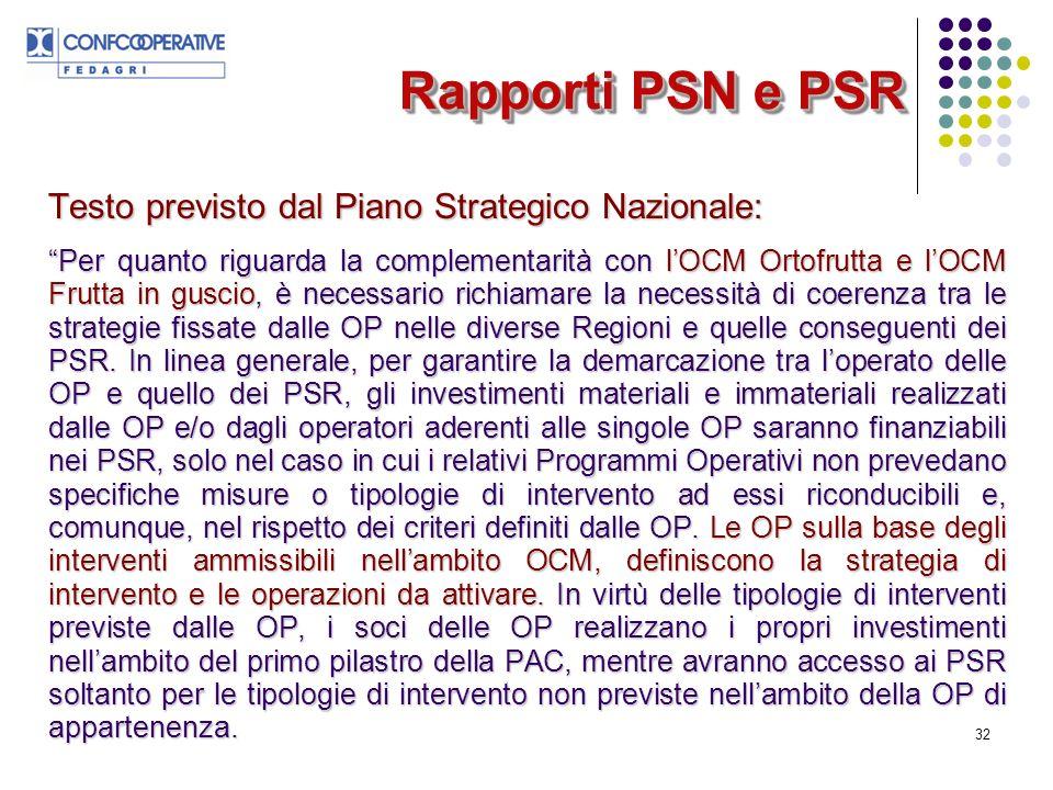 32 Rapporti PSN e PSR Testo previsto dal Piano Strategico Nazionale: Per quanto riguarda la complementarità con lOCM Ortofrutta e lOCM Frutta in guscio, è necessario richiamare la necessità di coerenza tra le strategie fissate dalle OP nelle diverse Regioni e quelle conseguenti dei PSR.