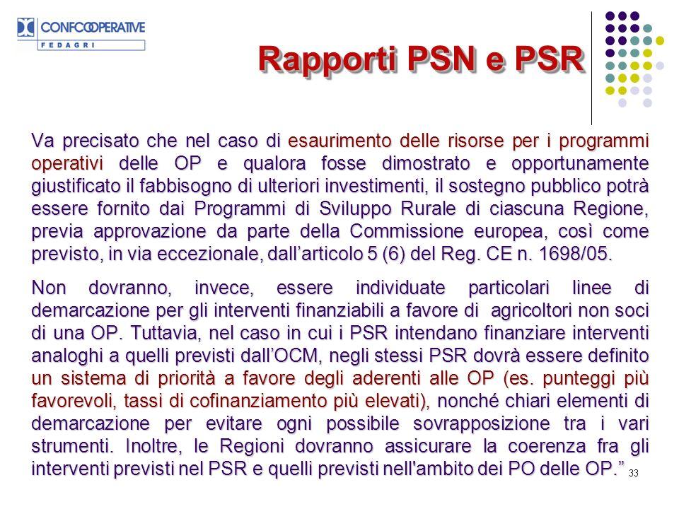 33 Rapporti PSN e PSR Va precisato che nel caso di esaurimento delle risorse per i programmi operativi delle OP e qualora fosse dimostrato e opportunamente giustificato il fabbisogno di ulteriori investimenti, il sostegno pubblico potrà essere fornito dai Programmi di Sviluppo Rurale di ciascuna Regione, previa approvazione da parte della Commissione europea, così come previsto, in via eccezionale, dallarticolo 5 (6) del Reg.
