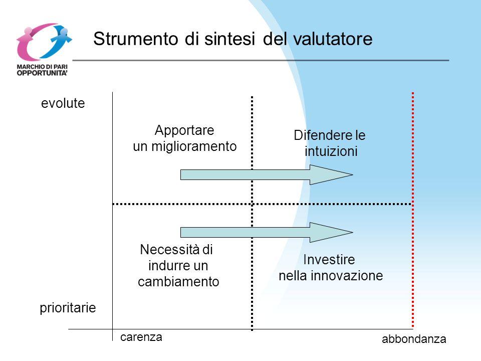 Strumento di sintesi del valutatore carenza abbondanza prioritarie evolute Investire nella innovazione Necessità di indurre un cambiamento Apportare un miglioramento Difendere le intuizioni
