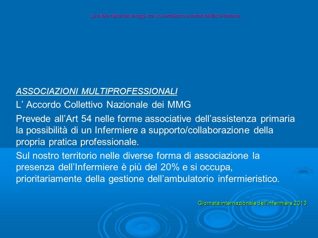 ASSOCIAZIONI MULTIPROFESSIONALI L Accordo Collettivo Nazionale dei MMG Prevede allArt 54 nelle forme associative dellassistenza primaria la possibilit