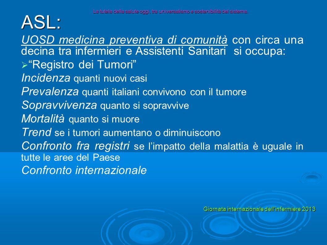ASL: UOSD medicina preventiva di comunità con circa una decina tra infermieri e Assistenti Sanitari si occupa: Registro dei Tumori Incidenza quanti nu