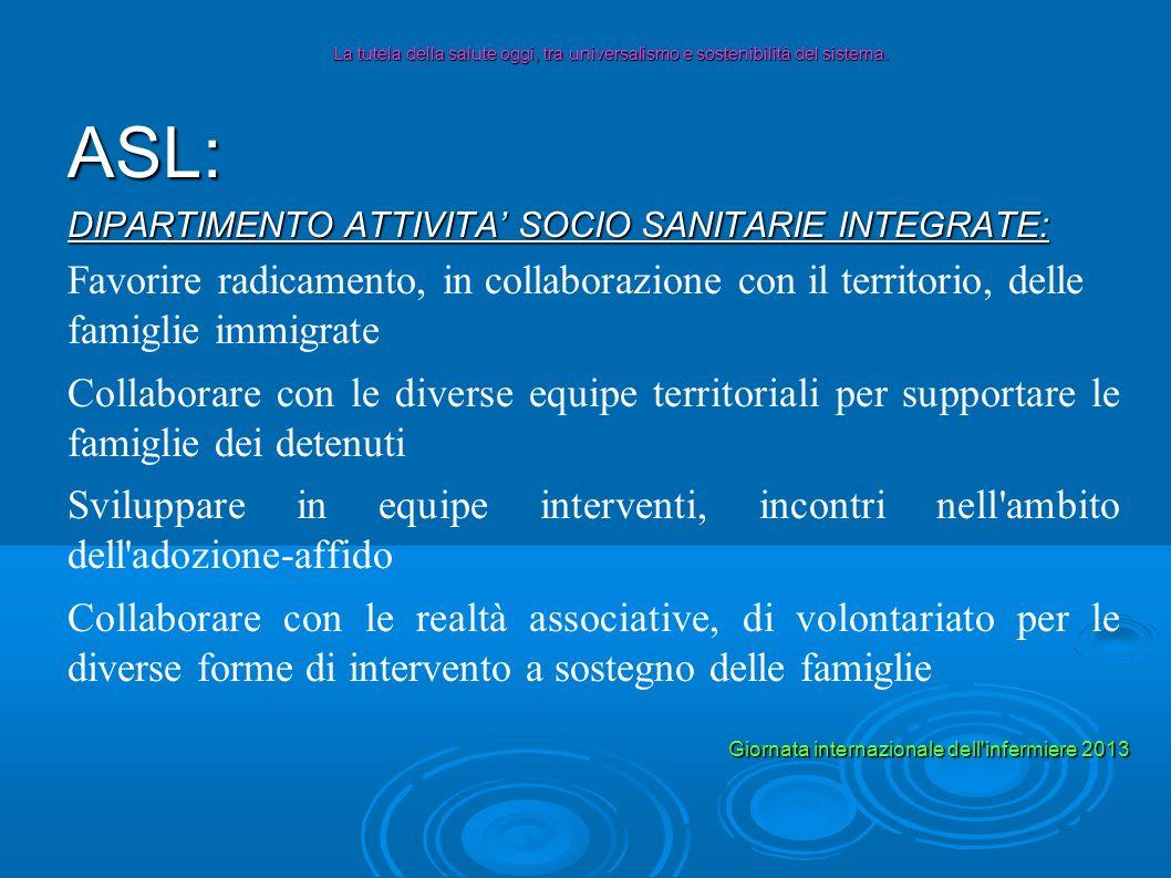 ASL: DIPARTIMENTO ATTIVITA SOCIO SANITARIE INTEGRATE: Favorire radicamento, in collaborazione con il territorio, delle famiglie immigrate Collaborare