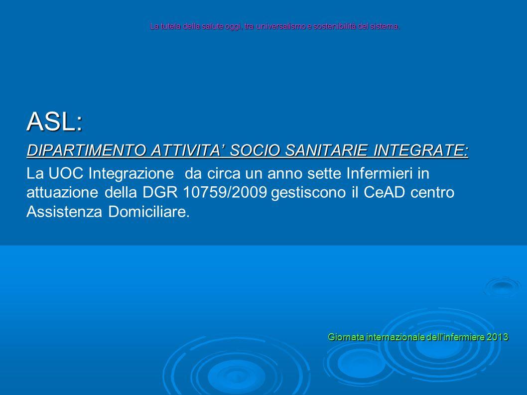 ASL: DIPARTIMENTO ATTIVITA SOCIO SANITARIE INTEGRATE: La UOC Integrazione da circa un anno sette Infermieri in attuazione della DGR 10759/2009 gestisc