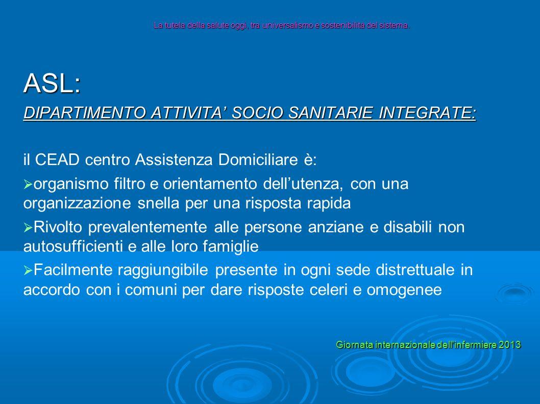 ASL: DIPARTIMENTO ATTIVITA SOCIO SANITARIE INTEGRATE: il CEAD centro Assistenza Domiciliare è: organismo filtro e orientamento dellutenza, con una org
