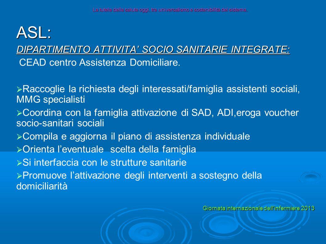 ASL: DIPARTIMENTO ATTIVITA SOCIO SANITARIE INTEGRATE: CEAD centro Assistenza Domiciliare. Raccoglie la richiesta degli interessati/famiglia assistenti