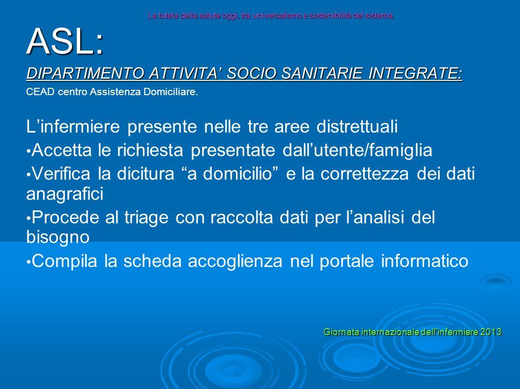 ASL: DIPARTIMENTO ATTIVITA SOCIO SANITARIE INTEGRATE: CEAD centro Assistenza Domiciliare. Linfermiere presente nelle tre aree distrettuali Accetta le