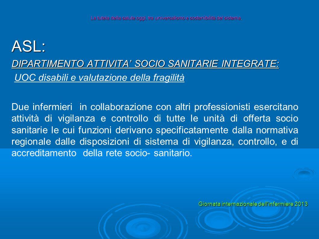 ASL: DIPARTIMENTO ATTIVITA SOCIO SANITARIE INTEGRATE: UOC disabili e valutazione della fragilità Due infermieri in collaborazione con altri profession