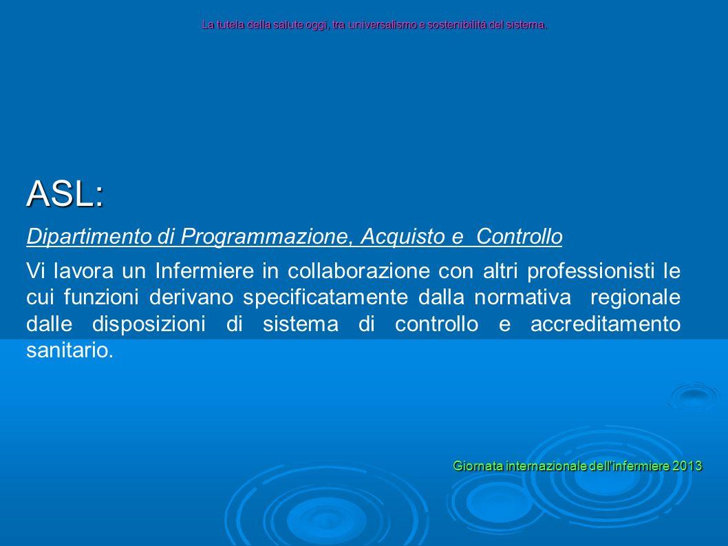 ASL: Dipartimento di Programmazione, Acquisto e Controllo Vi lavora un Infermiere in collaborazione con altri professionisti le cui funzioni derivano