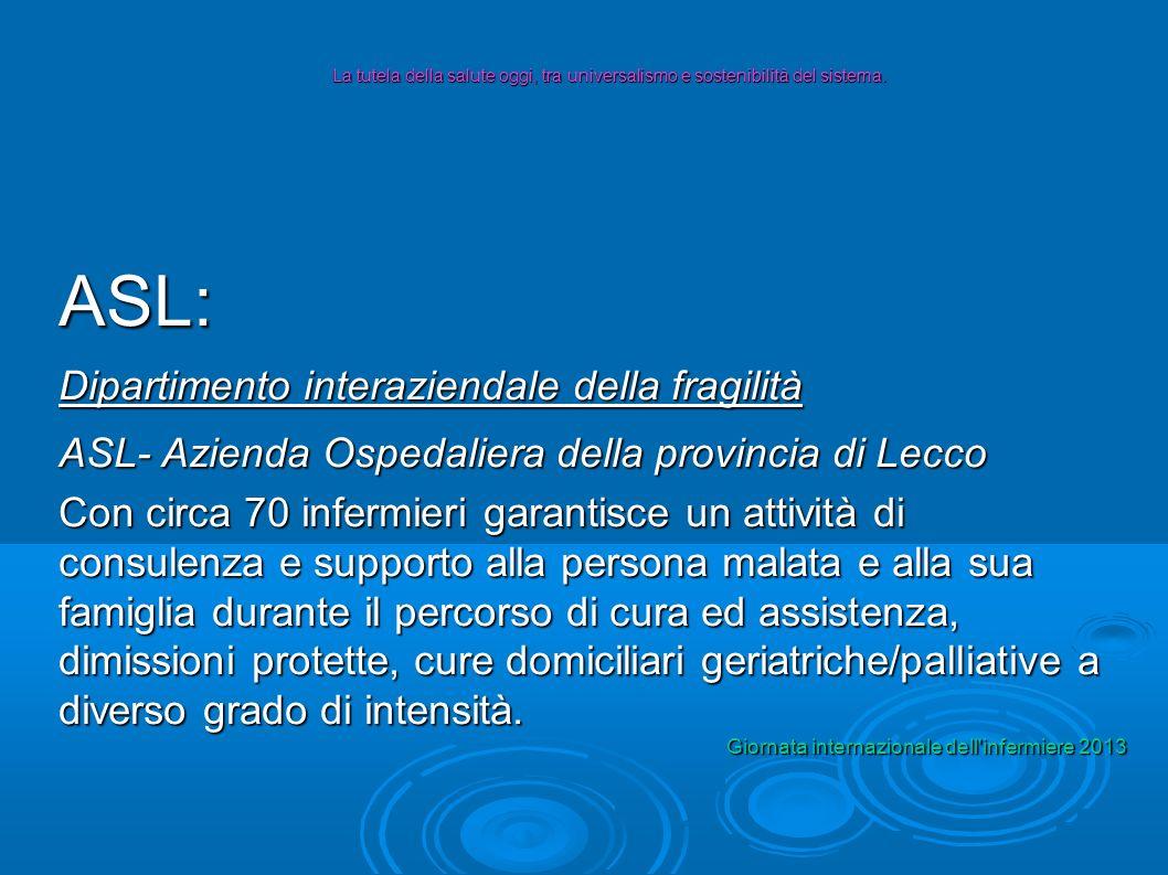 ASL: Dipartimento interaziendale della fragilità ASL- Azienda Ospedaliera della provincia di Lecco Con circa 70 infermieri garantisce un attività di c