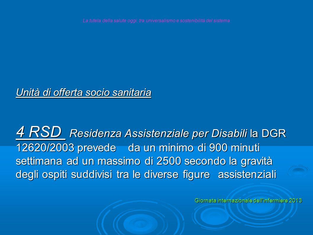 Unità di offerta socio sanitaria 10 CSS Comunità Socio Sanitarie per disabili la DGR 18333/2004 non ha previsto le figura dell Infermiere La tutela della salute oggi, tra universalismo e sostenibilità del sistema.