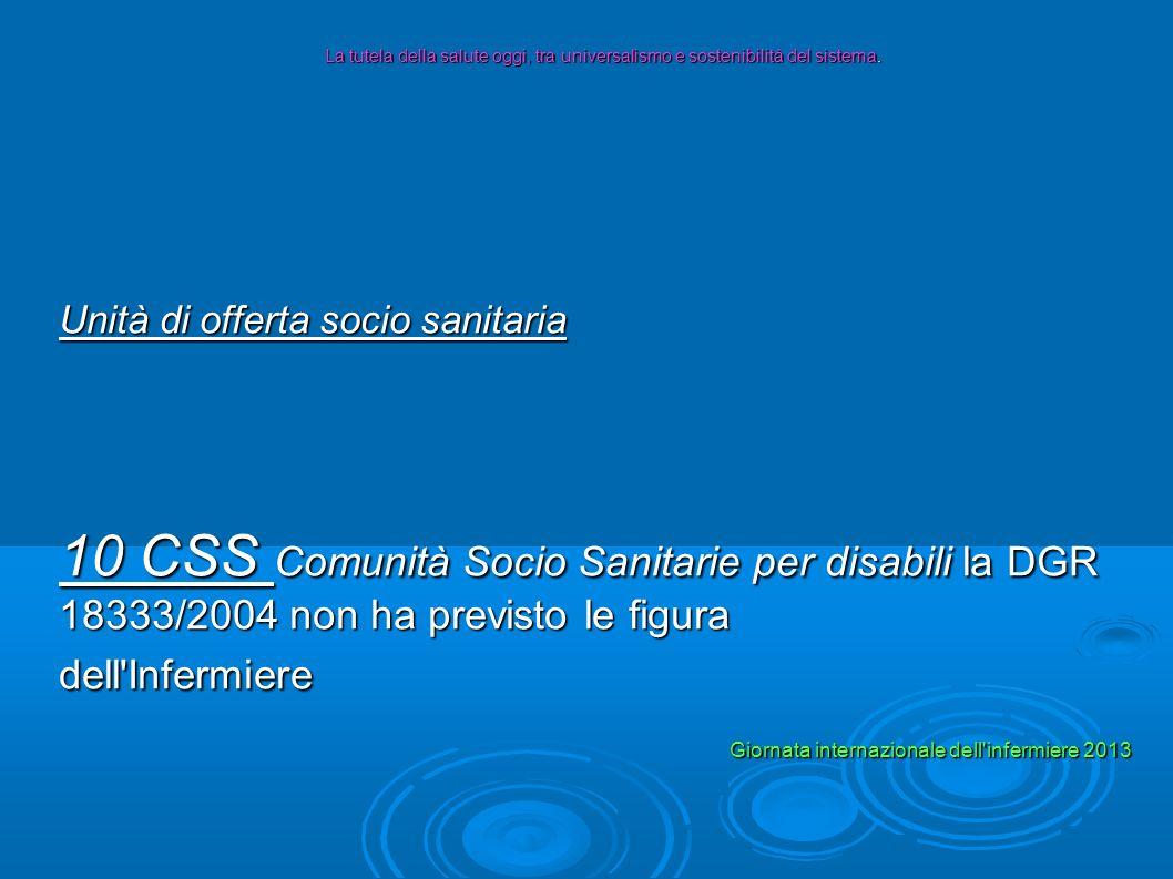 Unità di offerta socio sanitaria 10 CSS Comunità Socio Sanitarie per disabili la DGR 18333/2004 non ha previsto le figura dell'Infermiere La tutela de