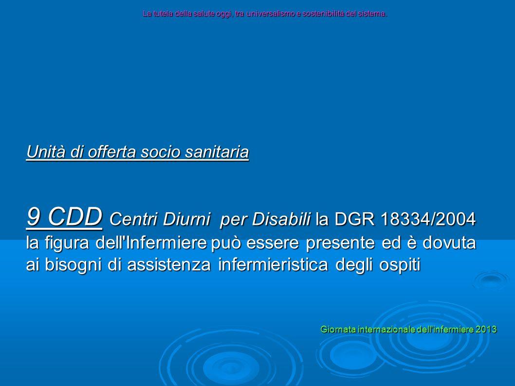 Unità di offerta socio sanitaria 5 CT Comunità Terapeutiche (dipendenze) la DGR 12621/2003 non ha previsto la figura dell Infermiere La tutela della salute oggi, tra universalismo e sostenibilità del sistema.