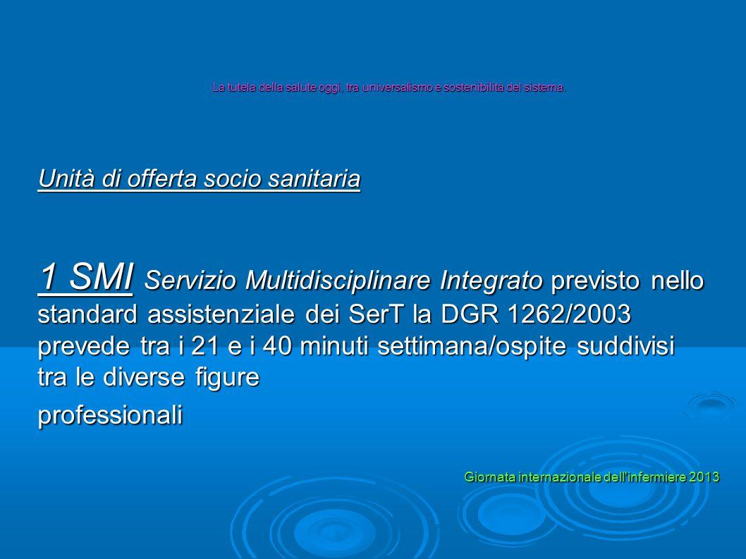 Unità di offerta socio sanitaria 1 SMI Servizio Multidisciplinare Integrato previsto nello standard assistenziale dei SerT la DGR 1262/2003 prevede tr