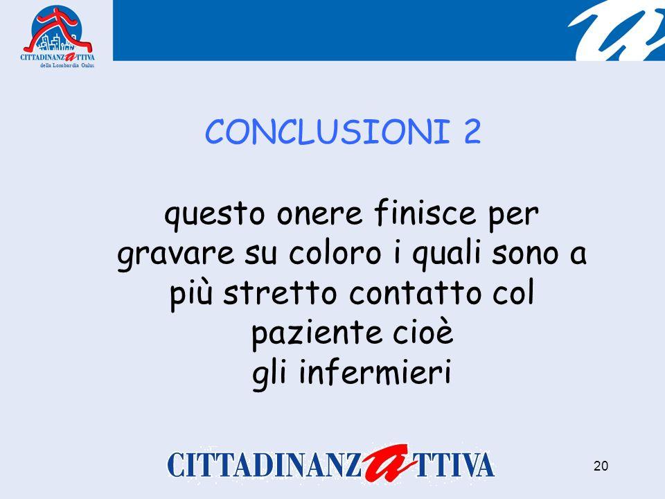 CONCLUSIONI 2 della Lombardia Onlus 20 questo onere finisce per gravare su coloro i quali sono a più stretto contatto col paziente cioè gli infermieri