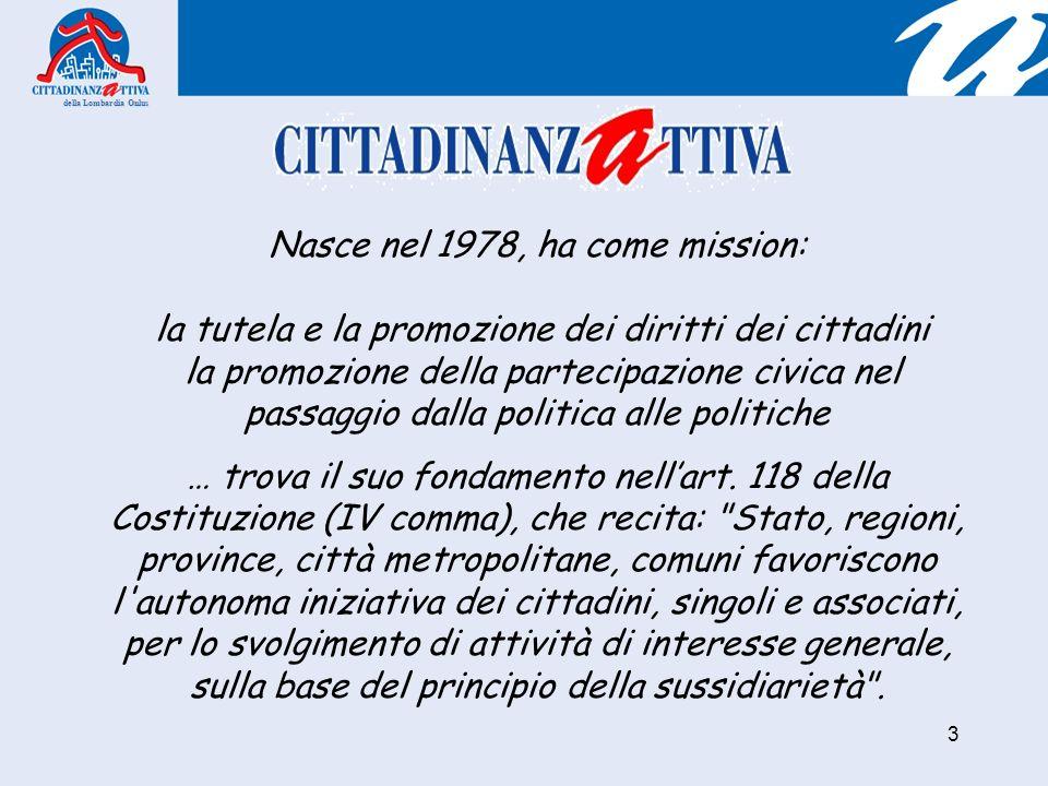 della Lombardia Onlus 3 Nasce nel 1978, ha come mission: la tutela e la promozione dei diritti dei cittadini la promozione della partecipazione civica nel passaggio dalla politica alle politiche … trova il suo fondamento nellart.