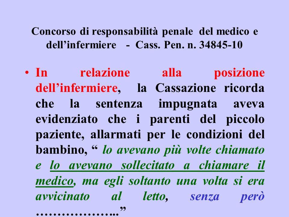 Concorso di responsabilità penale del medico e dellinfermiere - Cass. Pen. n. 34845-10 In relazione alla posizione dellinfermiere, la Cassazione ricor
