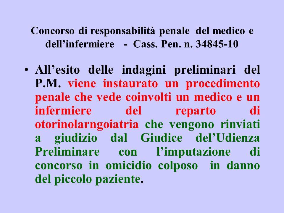 Concorso di responsabilità penale del medico e dellinfermiere - Cass. Pen. n. 34845-10 Allesito delle indagini preliminari del P.M. viene instaurato u