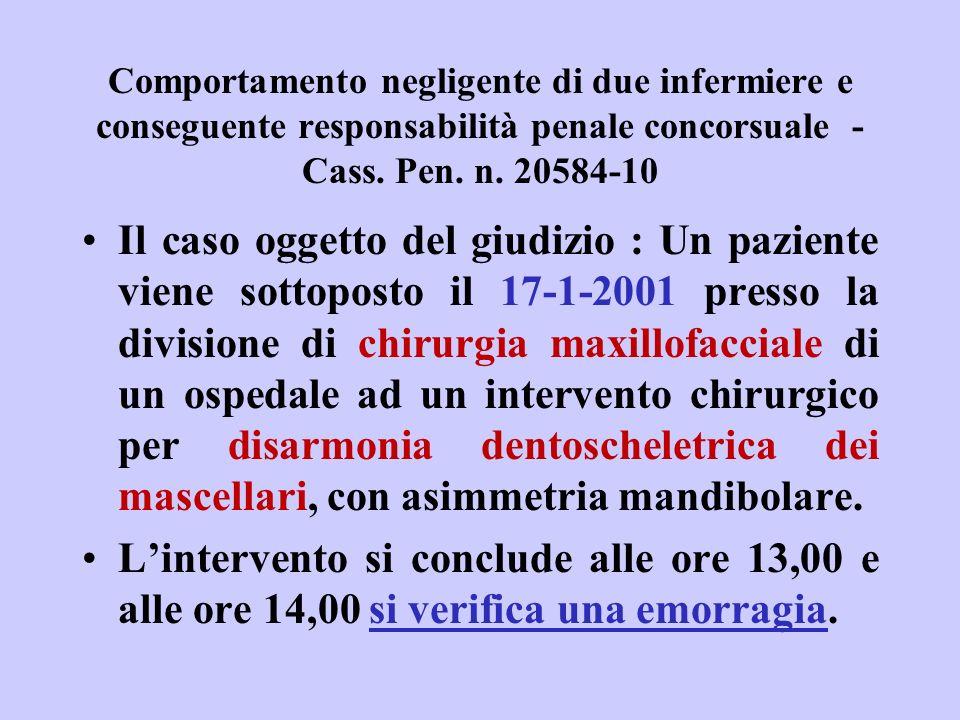 Comportamento negligente di due infermiere e conseguente responsabilità penale concorsuale - Cass. Pen. n. 20584-10 Il caso oggetto del giudizio : Un