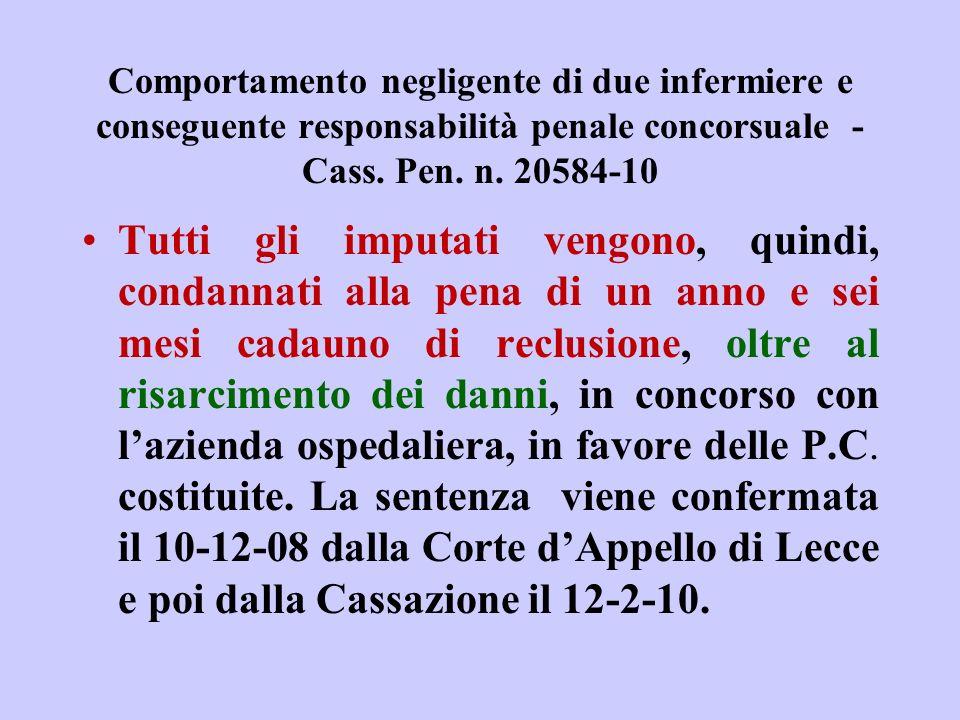 Comportamento negligente di due infermiere e conseguente responsabilità penale concorsuale - Cass. Pen. n. 20584-10 Tutti gli imputati vengono, quindi