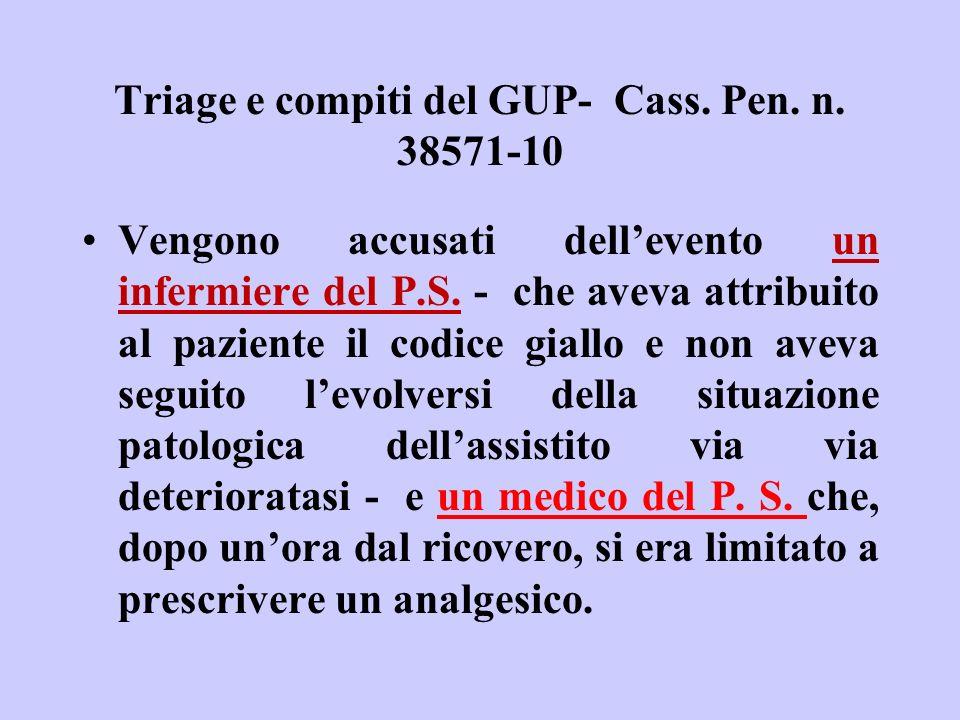 Triage e compiti del GUP- Cass. Pen. n. 38571-10 Vengono accusati dellevento un infermiere del P.S. - che aveva attribuito al paziente il codice giall