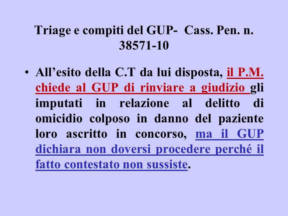 Triage e compiti del GUP- Cass. Pen. n. 38571-10 Allesito della C.T da lui disposta, il P.M. chiede al GUP di rinviare a giudizio gli imputati in rela
