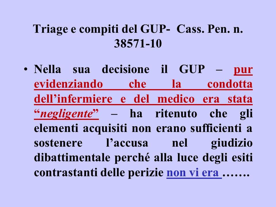 Triage e compiti del GUP- Cass. Pen. n. 38571-10 Nella sua decisione il GUP – pur evidenziando che la condotta dellinfermiere e del medico era statane