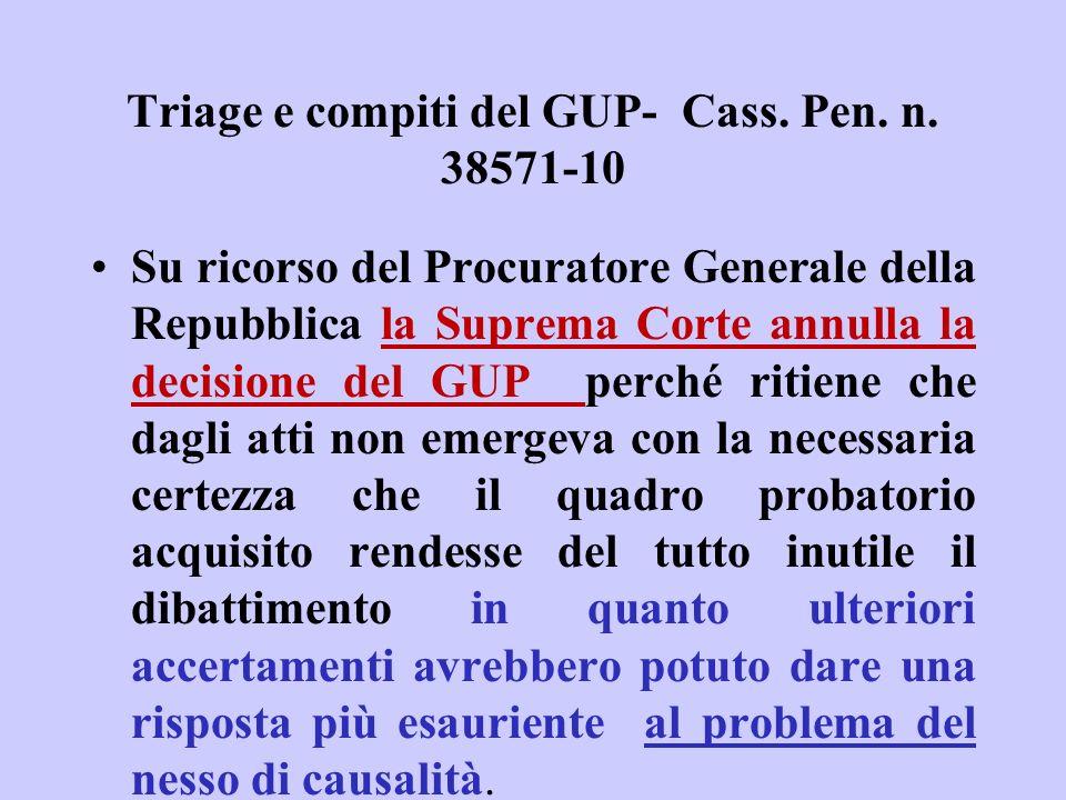 Triage e compiti del GUP- Cass. Pen. n. 38571-10 Su ricorso del Procuratore Generale della Repubblica la Suprema Corte annulla la decisione del GUP pe