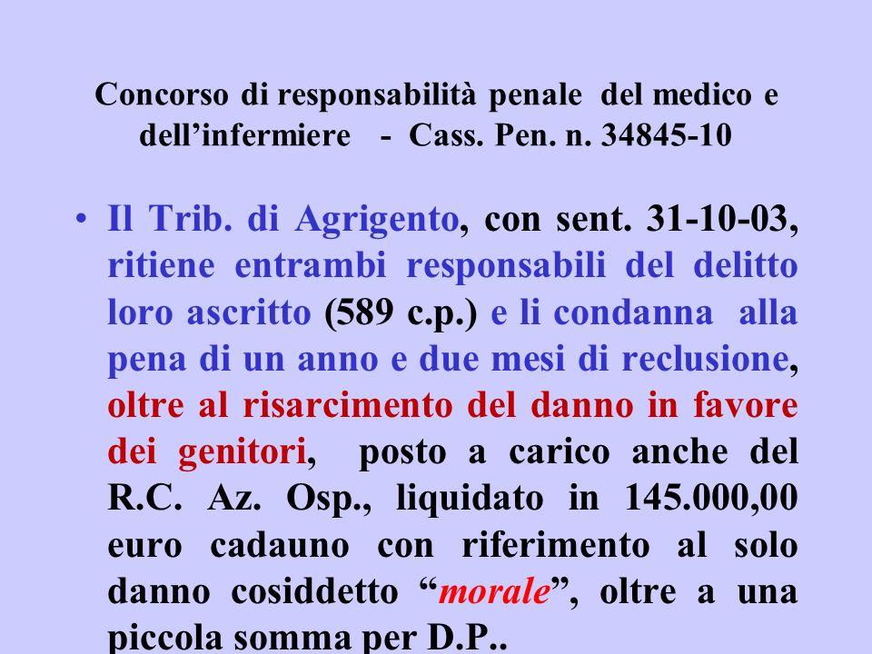 Concorso di responsabilità penale del medico e dellinfermiere - Cass. Pen. n. 34845-10 Il Trib. di Agrigento, con sent. 31-10-03, ritiene entrambi res
