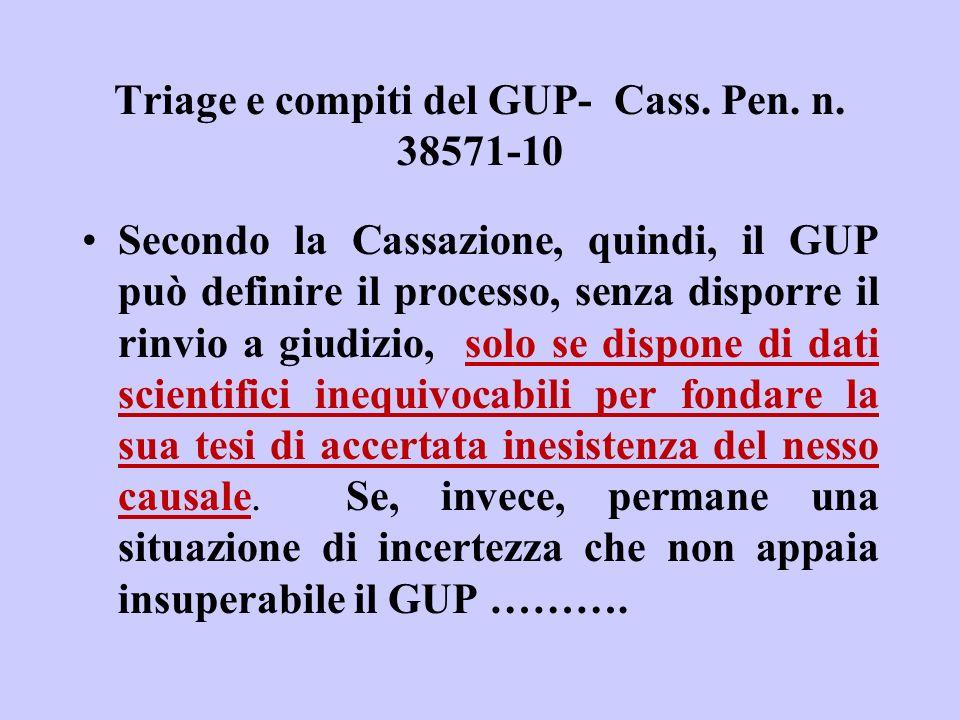 Triage e compiti del GUP- Cass. Pen. n. 38571-10 Secondo la Cassazione, quindi, il GUP può definire il processo, senza disporre il rinvio a giudizio,