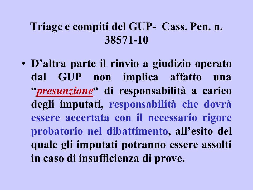 Triage e compiti del GUP- Cass. Pen. n. 38571-10 Daltra parte il rinvio a giudizio operato dal GUP non implica affatto unapresunzione di responsabilit