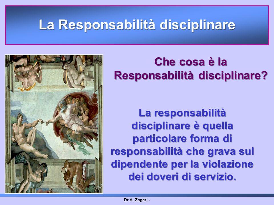 Dr A. Zagari - La responsabilità disciplinare è quella particolare forma di responsabilità che grava sul dipendente per la violazione dei doveri di se