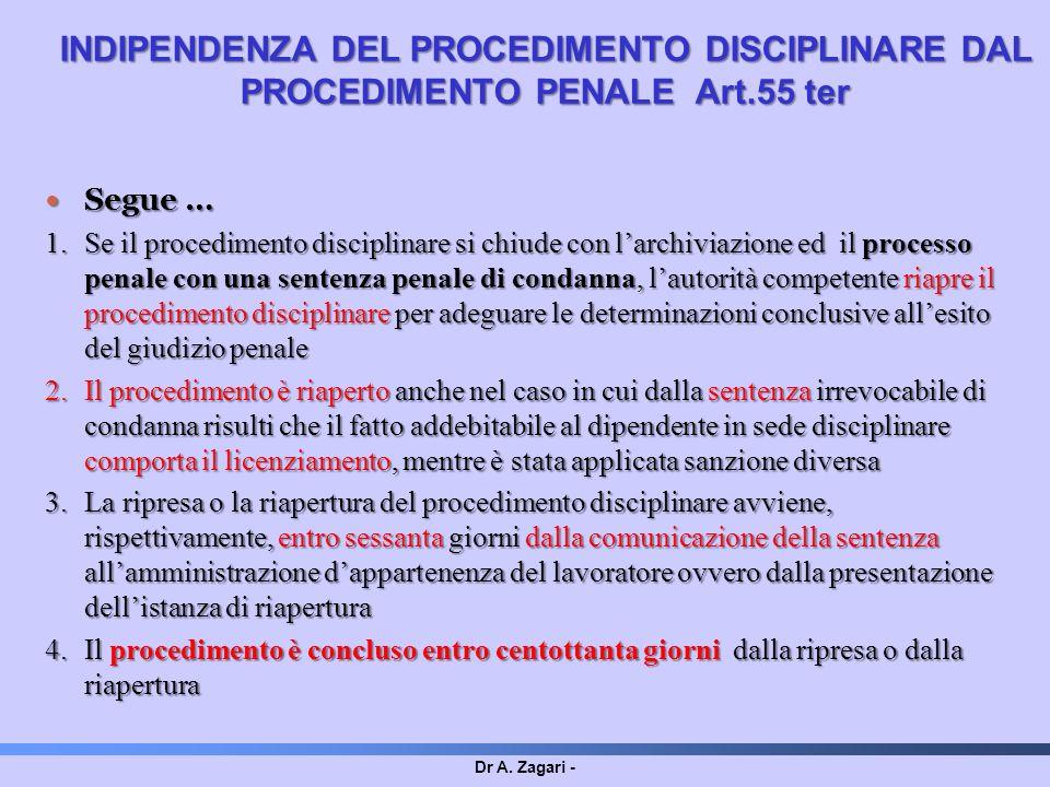 Dr A. Zagari - Segue … Segue … 1.Se il procedimento disciplinare si chiude con larchiviazione ed il processo penale con una sentenza penale di condann