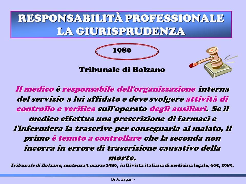 Dr A. Zagari - RESPONSABILITÀ PROFESSIONALE LA GIURISPRUDENZA 1980 Tribunale di Bolzano Il medico è responsabile dell'organizzazione interna del servi