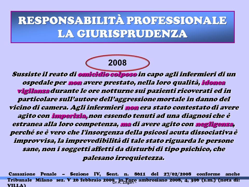Dr A. Zagari - RESPONSABILITÀ PROFESSIONALE LA GIURISPRUDENZA Sussiste il reato di omicidio colposo in capo agli infermieri di un ospedale per non ave