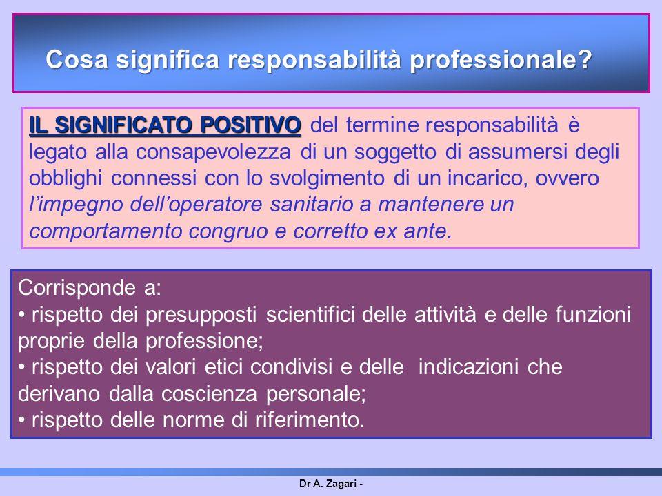 Dr A. Zagari - IL SIGNIFICATO POSITIVO IL SIGNIFICATO POSITIVO del termine responsabilità è legato alla consapevolezza di un soggetto di assumersi deg