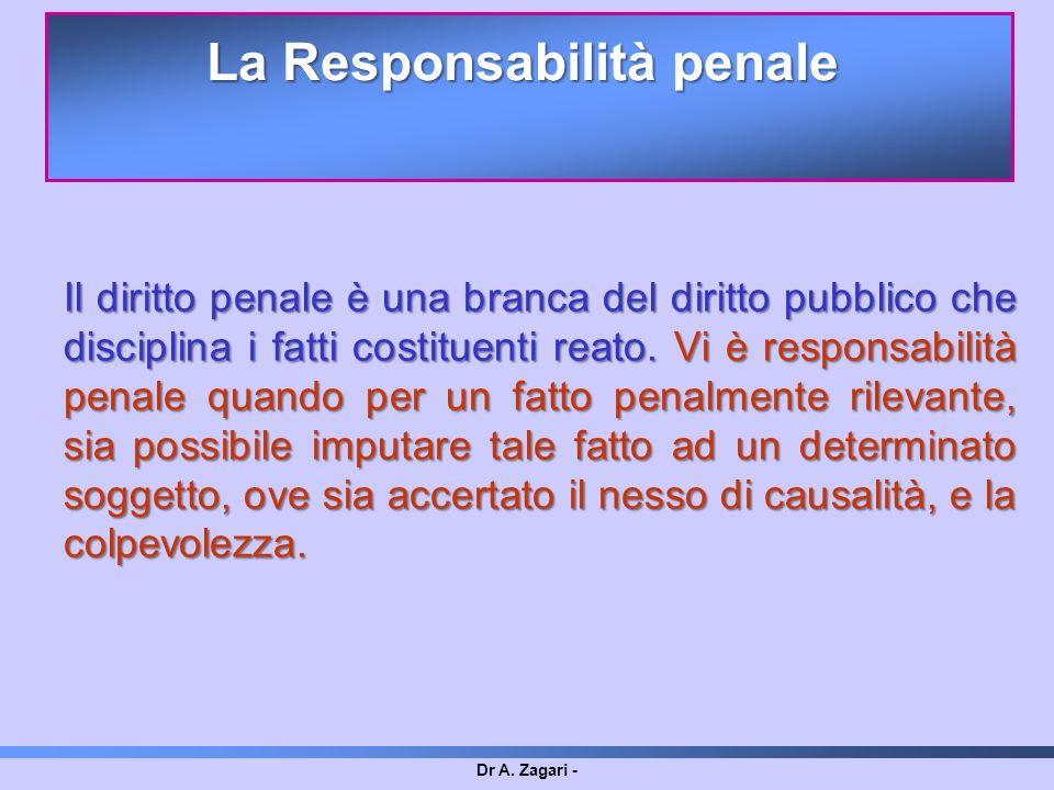 Dr A. Zagari - Il diritto penale è una branca del diritto pubblico che disciplina i fatti costituenti reato. Vi è responsabilità penale quando per un