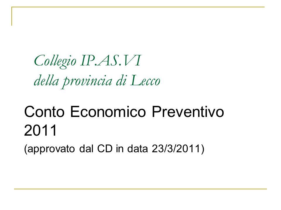 Collegio IP.AS.VI della provincia di Lecco Conto Economico Preventivo 2011 (approvato dal CD in data 23/3/2011)