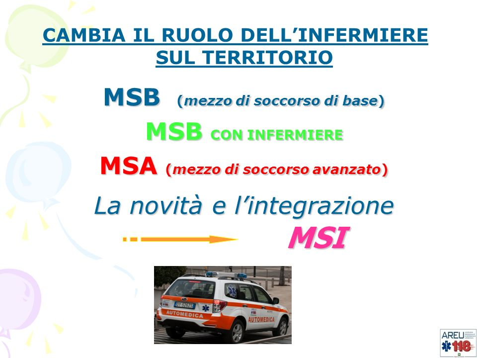 CAMBIA IL RUOLO DELLINFERMIERE SUL TERRITORIO MSB (mezzo di soccorso di base) MSB CON INFERMIERE MSA (mezzo di soccorso avanzato) La novità e lintegra