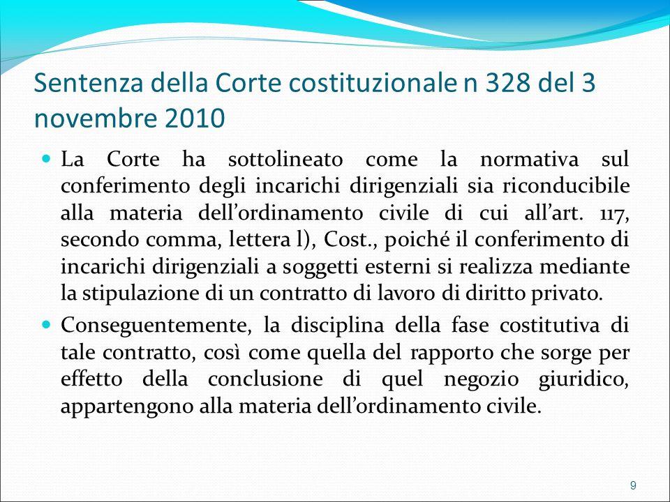Sentenza della Corte costituzionale n 328 del 3 novembre 2010 La Corte ha sottolineato come la normativa sul conferimento degli incarichi dirigenziali sia riconducibile alla materia dellordinamento civile di cui allart.