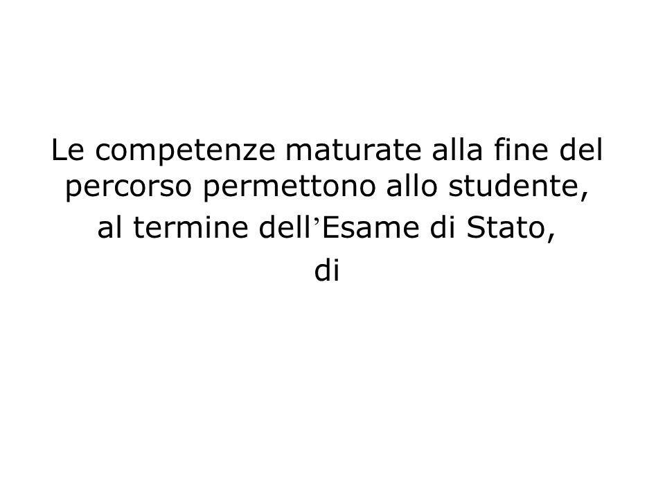Le competenze maturate alla fine del percorso permettono allo studente, al termine dell Esame di Stato, di