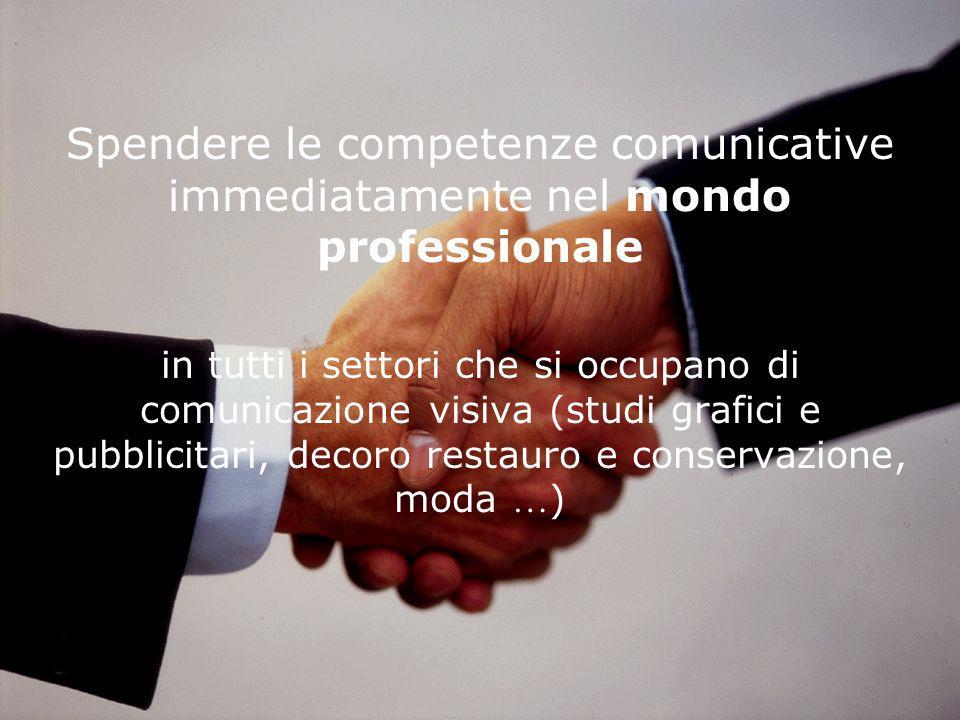 Spendere le competenze comunicative immediatamente nel mondo professionale in tutti i settori che si occupano di comunicazione visiva (studi grafici e