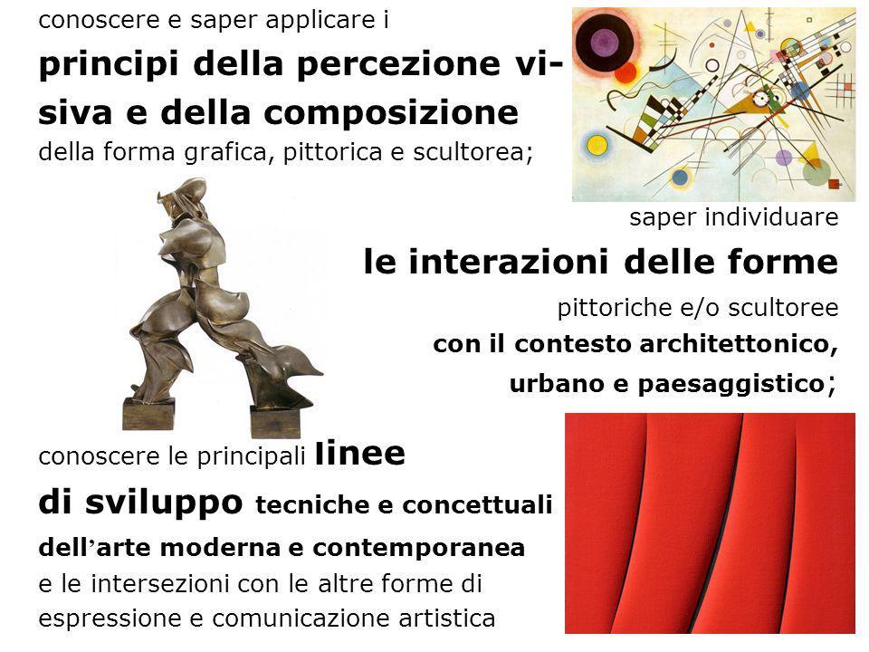 conoscere e saper applicare i principi della percezione vi- siva e della composizione della forma grafica, pittorica e scultorea; saper individuare le